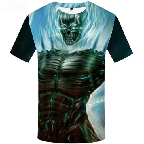 Skull T shirts Men Skeleton Tshirt Printed Monster Tshirts Cool Blue Tshirt Anime War T-shirts 3d Short Sleeve T shirts Men