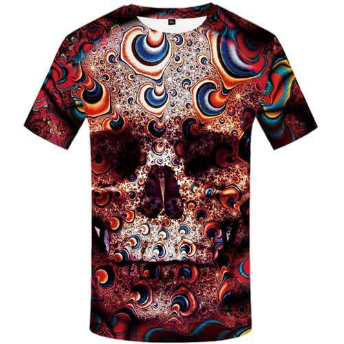 Skull T shirts Men Psychedelic T-shirts 3d Colorful Tshirts Novelty Fantasy Tshirts Casual Gothic Tshirt Printed Short Sleeve - KYKU