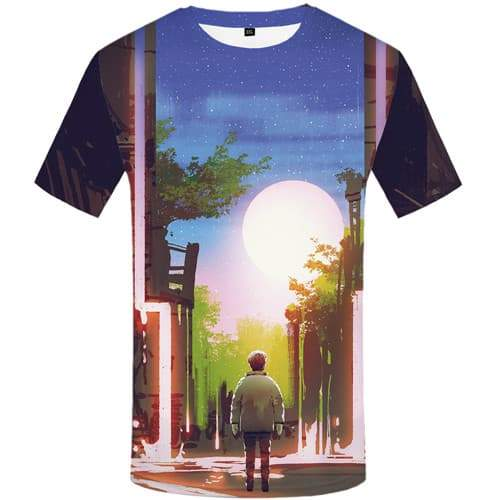 Moon T-shirt Men Forest Shirt Print Character Tshirts Novelty Art Tshirts Casual Graffiti T shirts Funny Short Sleeve Full Print - KYKU