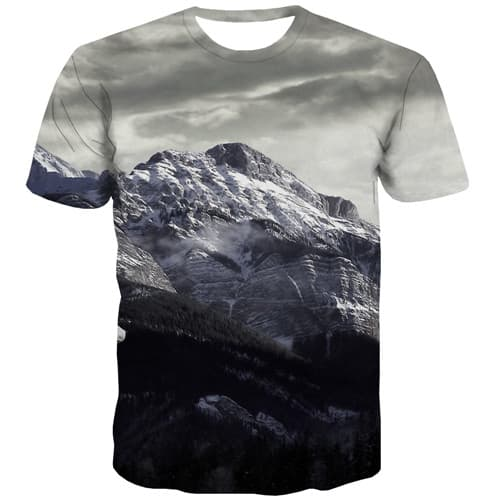 Mountain T-shirt Men Gray T-shirts 3d Harajuku Tshirts Casual Gothic Tshirt Printed Short Sleeve Punk Rock Men Tee O-neck O-Neck