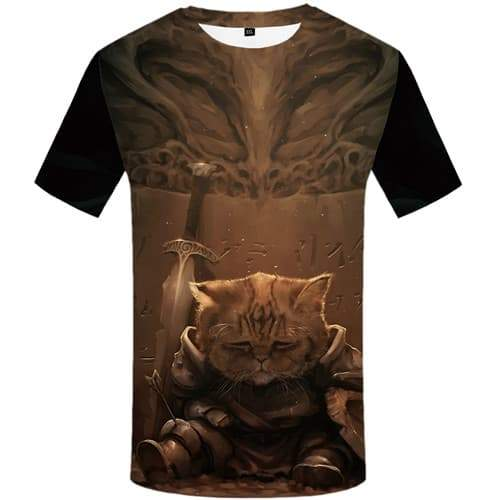 Cat T shirts Men Military T shirts Funny Metal Tshirt Anime Animal Tshirts Cool War T-shirts Graphic Short Sleeve Punk Rock Men - KYKU