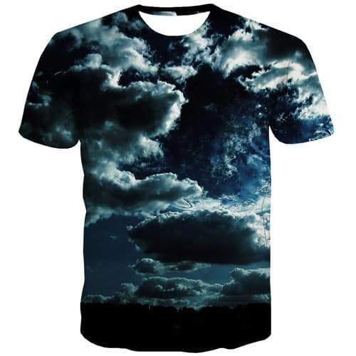 Space Galaxy T-shirt Men Cloud Tshirts Cool Harajuku T-shirts 3d Gray Shirt Print Gothic Tshirt Printed Short Sleeve Hip hop - KYKU