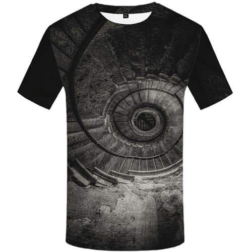 Psychedelic T-shirt Men Dizziness T-shirts Graphic Gray Tshirt Printed Black Hole Tshirts Novelty Eye Shirt Print Short Sleeve - KYKU
