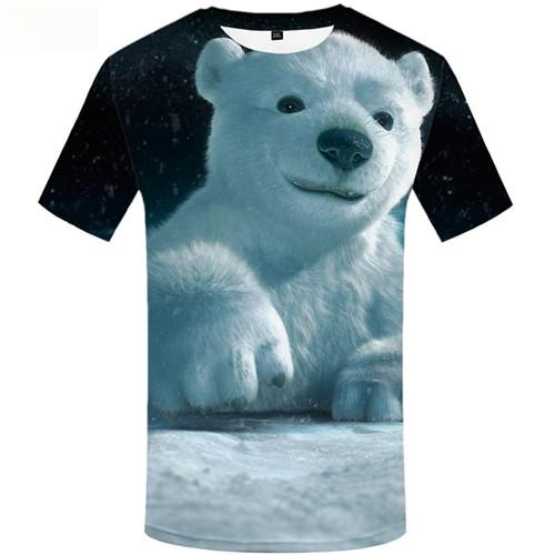 Bear T-shirt Men Snow Shirt Print Animal T-shirts Graphic Russia T shirts Funny White Tshirts Cool Short Sleeve Punk Rock