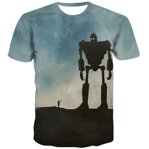 The Iron Giant T-shirt Men Metal T-shirts 3d Comic T-shirts Graphic United States Tshirt Anime Gothic Shirt Print Short Sleeve - KYKU