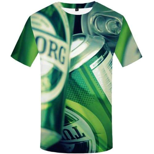 Beer T-shirt Men Metal Tshirt Anime Character Tshirts Novelty Green Shirt Print Harajuku T-shirts 3d Short Sleeve summer - KYKU