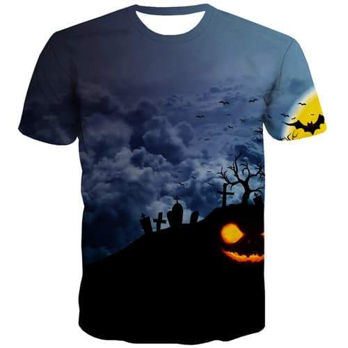 Halloween T-shirt Men Moon Tshirts Cool Pumpkin Tshirt Printed Bat Tshirts Novelty Hip Hop T-shirts Graphic Short Sleeve Hip hop