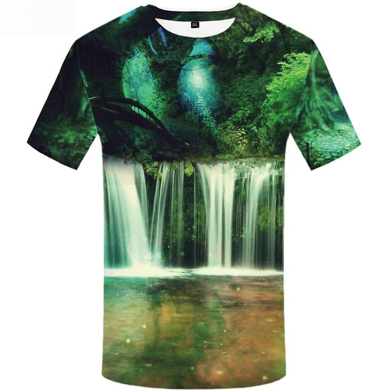 Forest T-shirts Men Green Tshirts Print Harajuku T-shirt 3d Reflection Tshirt Anime - KYKU
