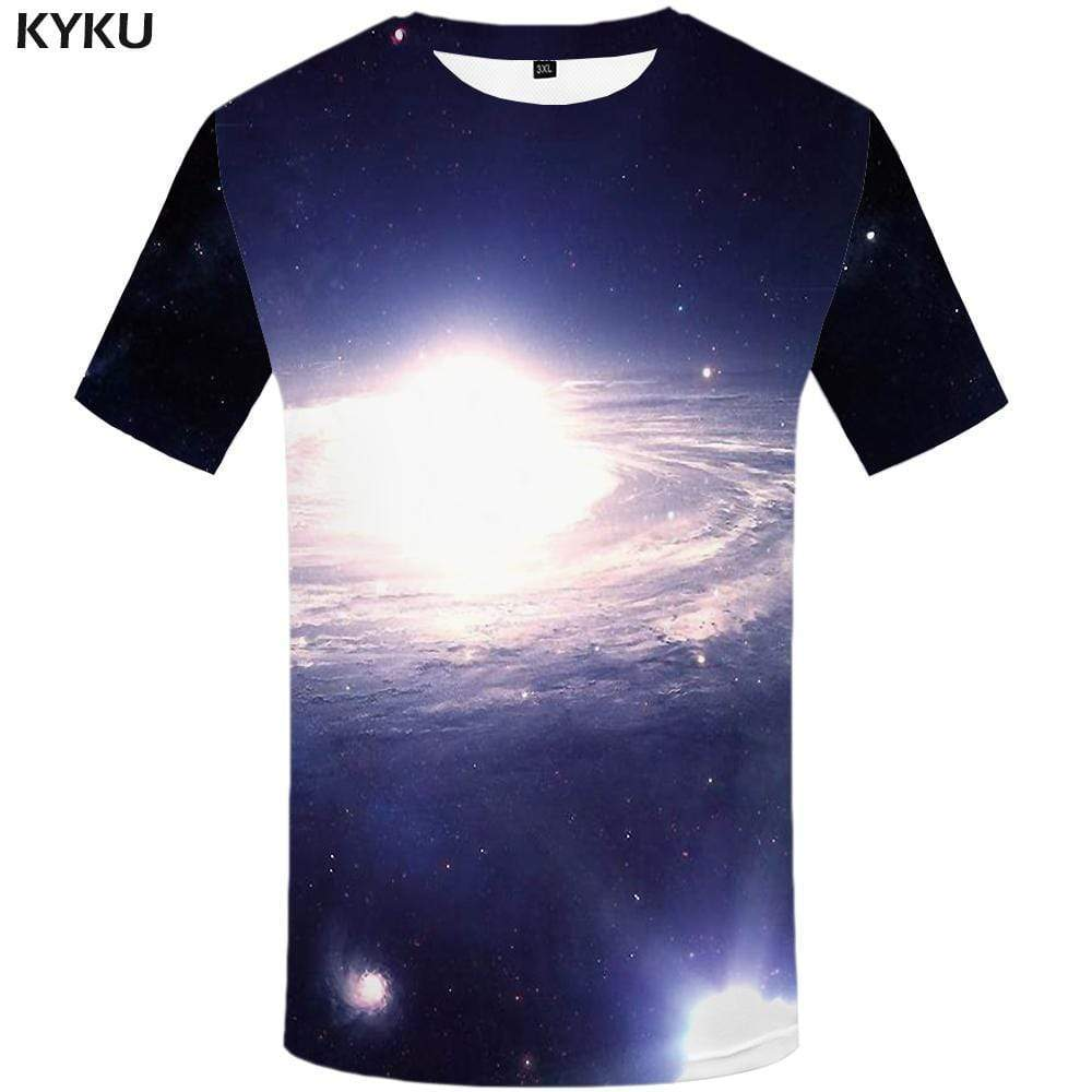 Galaxy Space T shirt Men Nebula Tshirt Anime Harajuku T shirts Funny Swirl T-shirt 3d Tshirts Print Mens Fashion Short Sleeve - KYKU