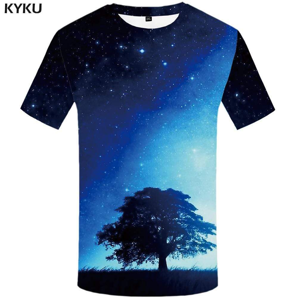 Galaxy Space T-shirts Men Metal T shirts Funny Aurora Tshirt Anime Military T-shirt 3d Tshirts Print Mens Clothing Graphic - KYKU