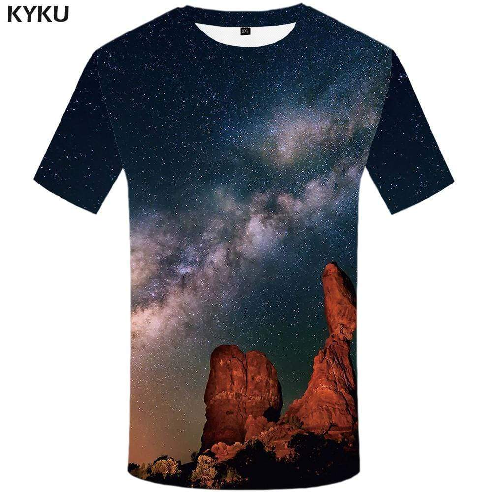 Galaxy Space T-shirts Men Mountain Tshirt Anime Snow Tshirts Print Character T shirts Funny Vortex T-shirt 3d Mens Clothing - KYKU