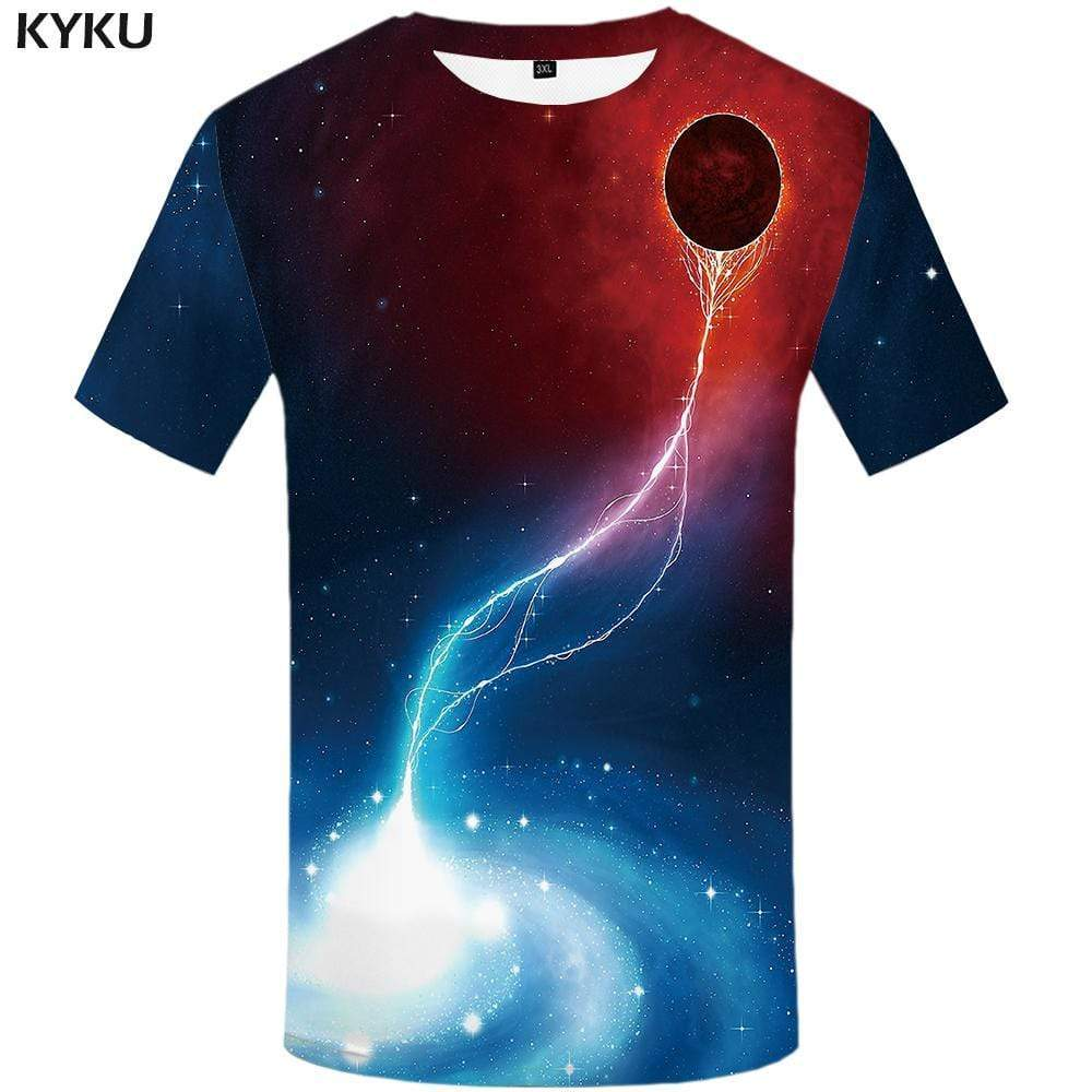 Galaxy Space T-shirts Men Swirl Tshirts Print Lightning T shirts Funny Flame Tshirt Anime Nebula T-shirt 3d Mens Fashion - KYKU