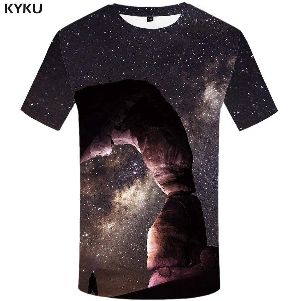 Galaxy Space T-shirts Men Vortex Tshirt Anime Flame Tshirts Print Harajuku T shirts Funny Gothic T-shirt 3d Mens Clothing - KYKU
