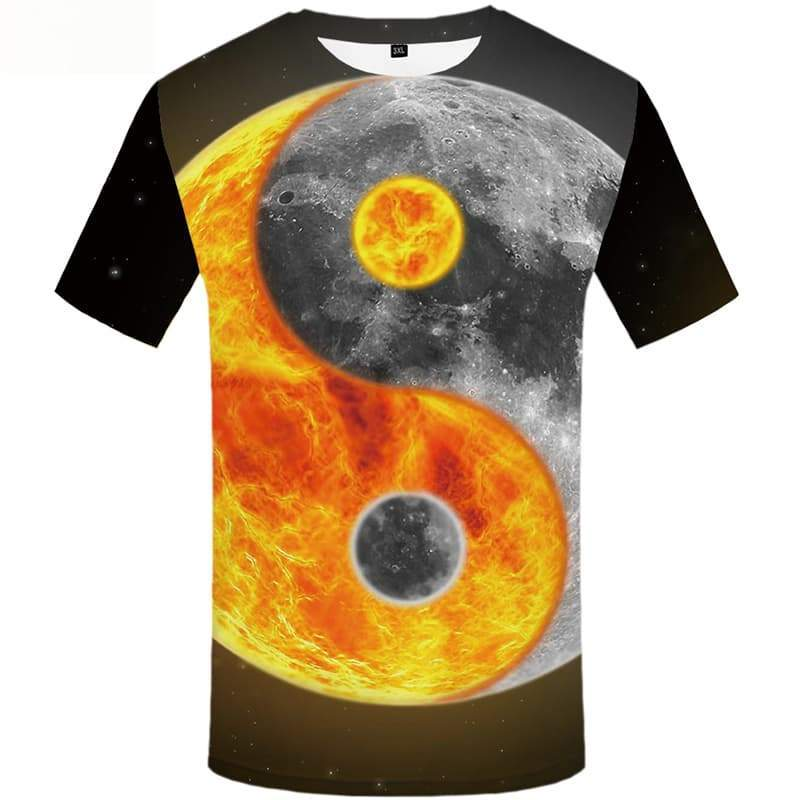 Galaxy Space T shirts Men Yinyang Tshirts Novelty Moon Tshirt Anime Short Sleeve - KYKU