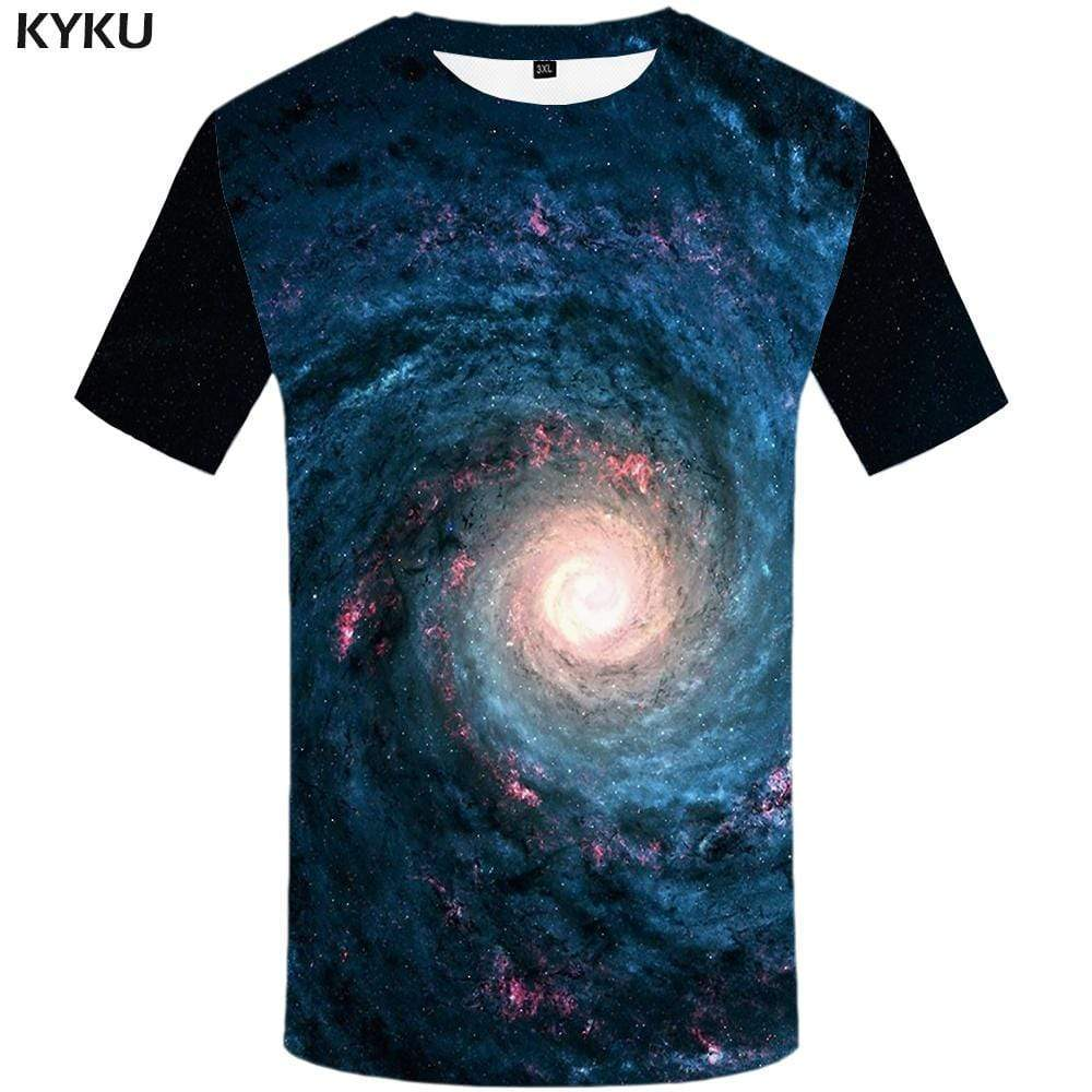 Galaxy T shirt Men Space Tshirts Print Mountain T-shirt 3d Black T shirts Funny Gothic Tshirt Anime Mens Fashion Hip hop Unisex - KYKU