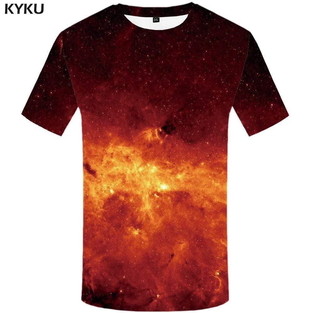 Galaxy T-shirts Men Space Tshirt Anime Blue T-shirt 3d Tree T shirts Funny Harajuku Tshirts Print Mens Fashion Short Sleeve - KYKU