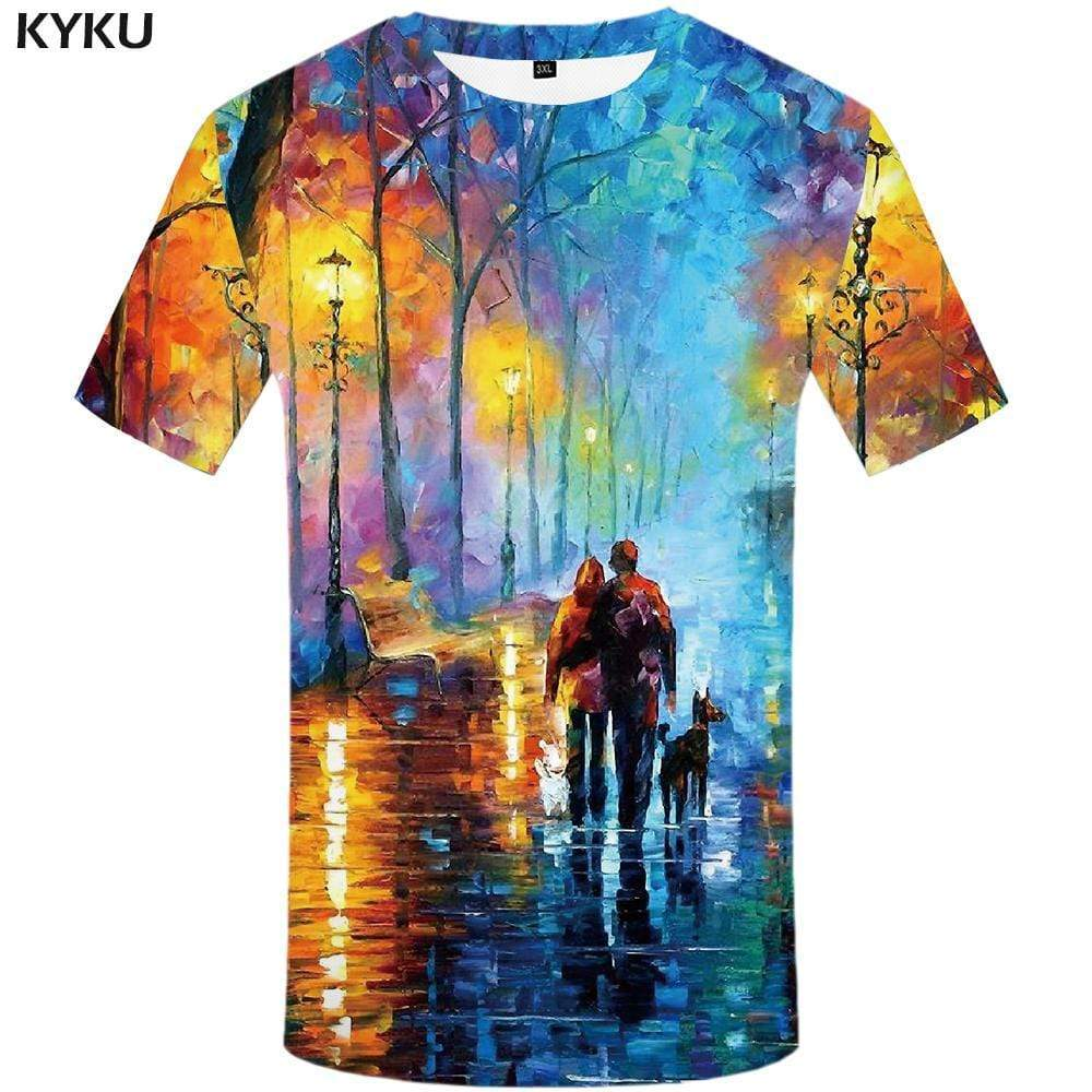 Graffiti T shirt Men Character Tshirts Print Art T-shirt 3d Dog Tshirt Anime Colorful T shirts Funny Mens Fashion Casual Unisex - KYKU