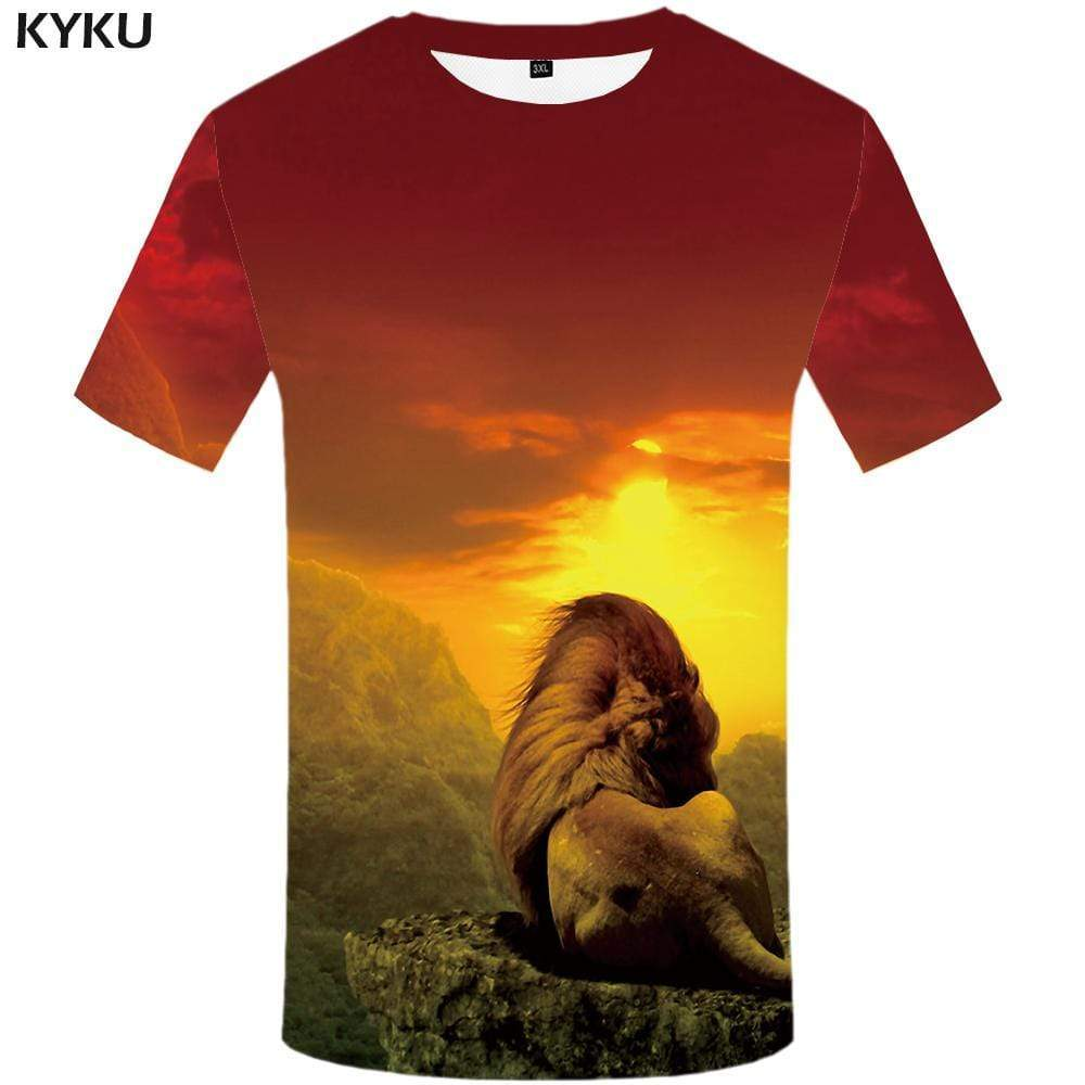 KYKU Brand Lion T-shirts Men Animal Tshirts Print Mountain T-shirt 3d Moon T shirts Funny Nebula Tshirt Anime Mens Fashion - KYKU