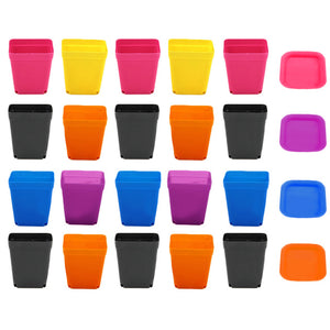 20 PACK OF SQUARE PLASTIC POTS WITH TRAY SAUCER