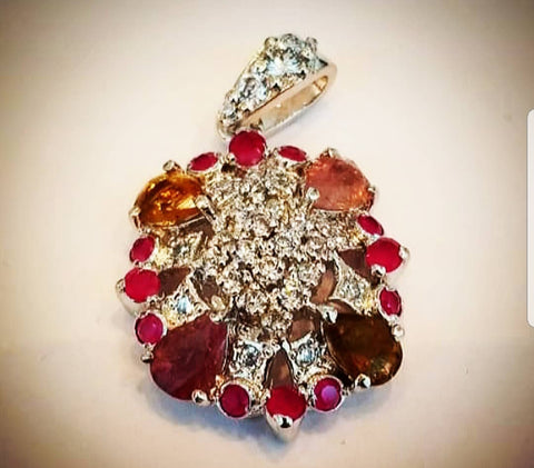Sterling Silver Pendant with Rubies, Tourmaline and Cubic Zirconia