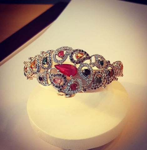 Bangle Bracelet with Ruby & Tourmaline