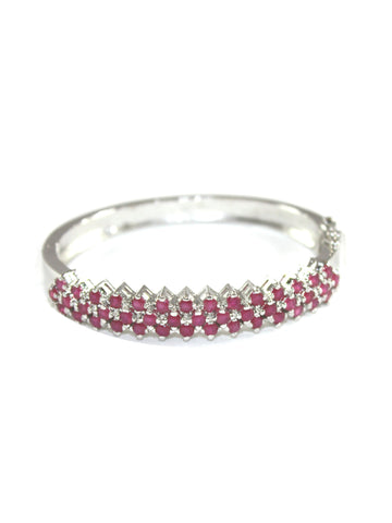 Ruby Oval Bracelet in Sterling Silver