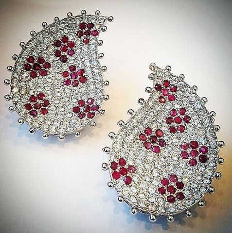 Ruby and zircon earrings by Amna's Inspiration