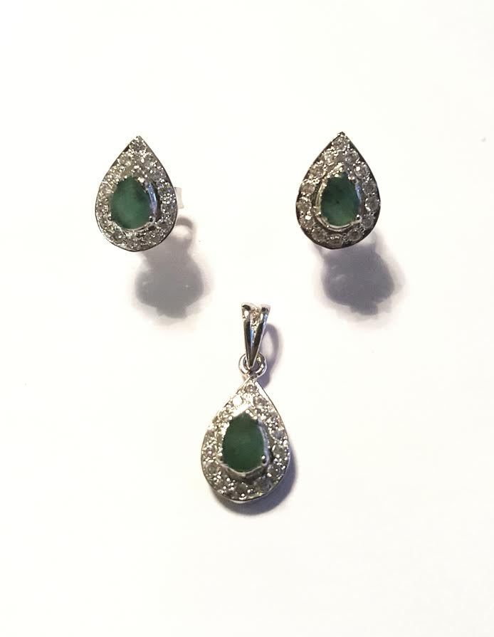 Sterling Silver Pendant and Earrings with Emerald and Cubic Zirconia