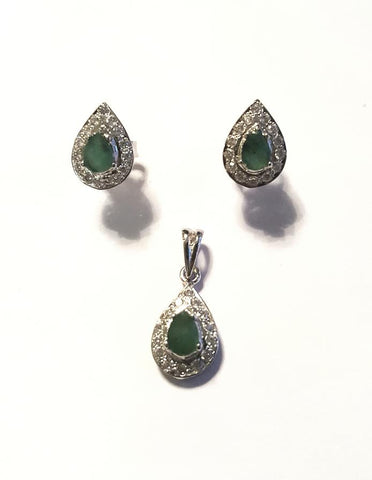 A beautiful pendant and earrings set by Amna's Inspiration set with Emeralds and Cubic Zirconia.