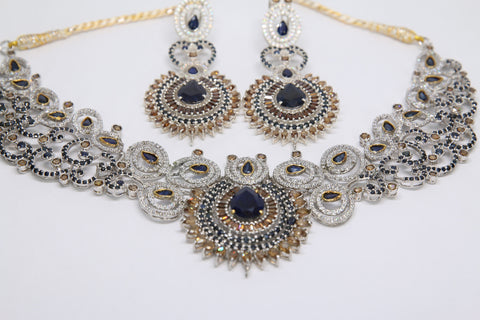 Sapphire and Cubic Zirconia Necklace and Earrings by Amna's Inspiration in Sterling Silver.