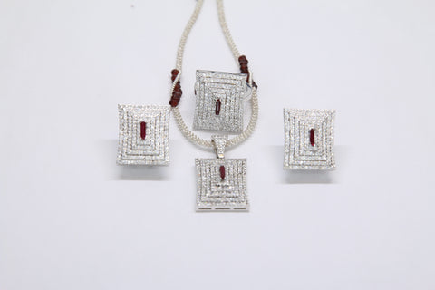 Pendant and Earrings by Amna's Inspiration in Sterling Silver studded with premium quality Garnet and Cubic Zirconia.