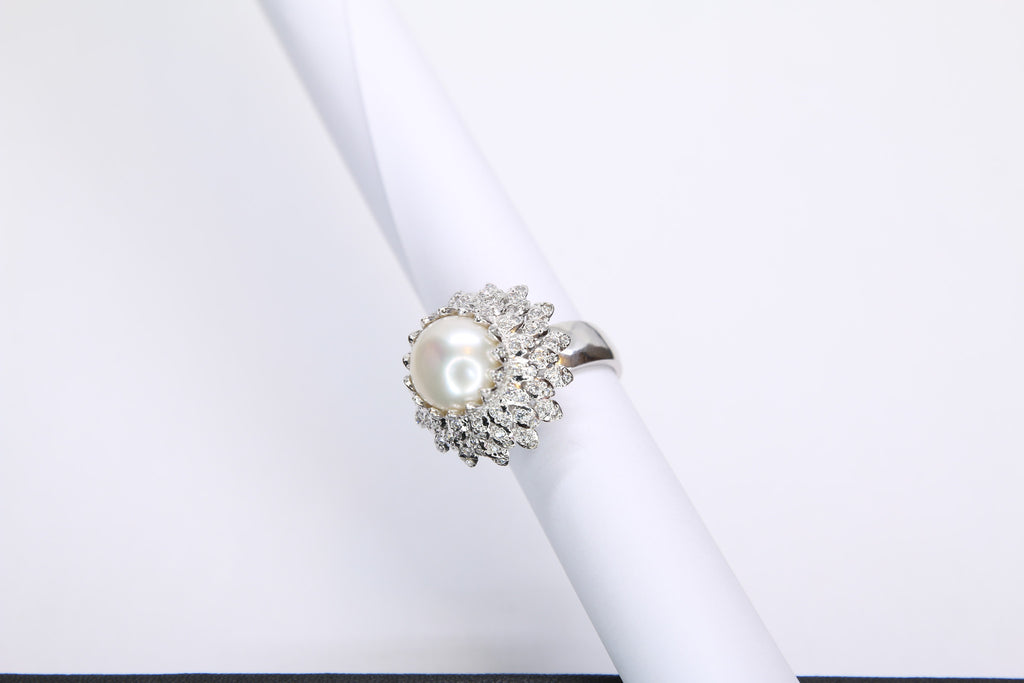 Pearl and Cubic Zirconia Silver Ring