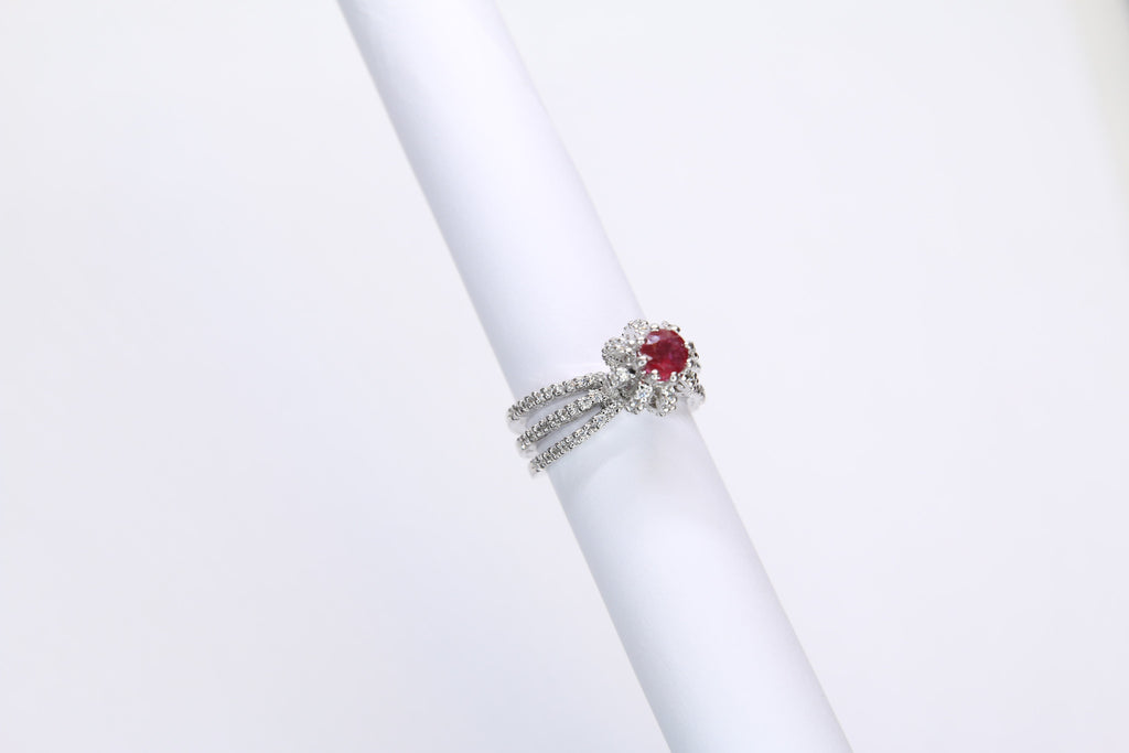 Pink Tourmaline and Cubic Zirconia Silver Ring