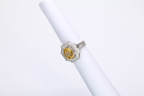 A beautiful sterling silver ring by Amna's Inspiration studded with citrine and Cubic Zirconia.