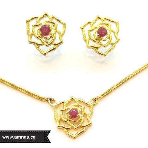 Ruby Pendant and Earrings by Amna's Inspiration in Gold Plated Silver