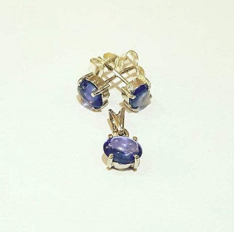 Sterling Silver Studs and Pendant with Sapphires