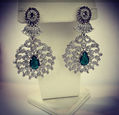Smoky Topaz Earrings with zircons by Amna's Inspiration