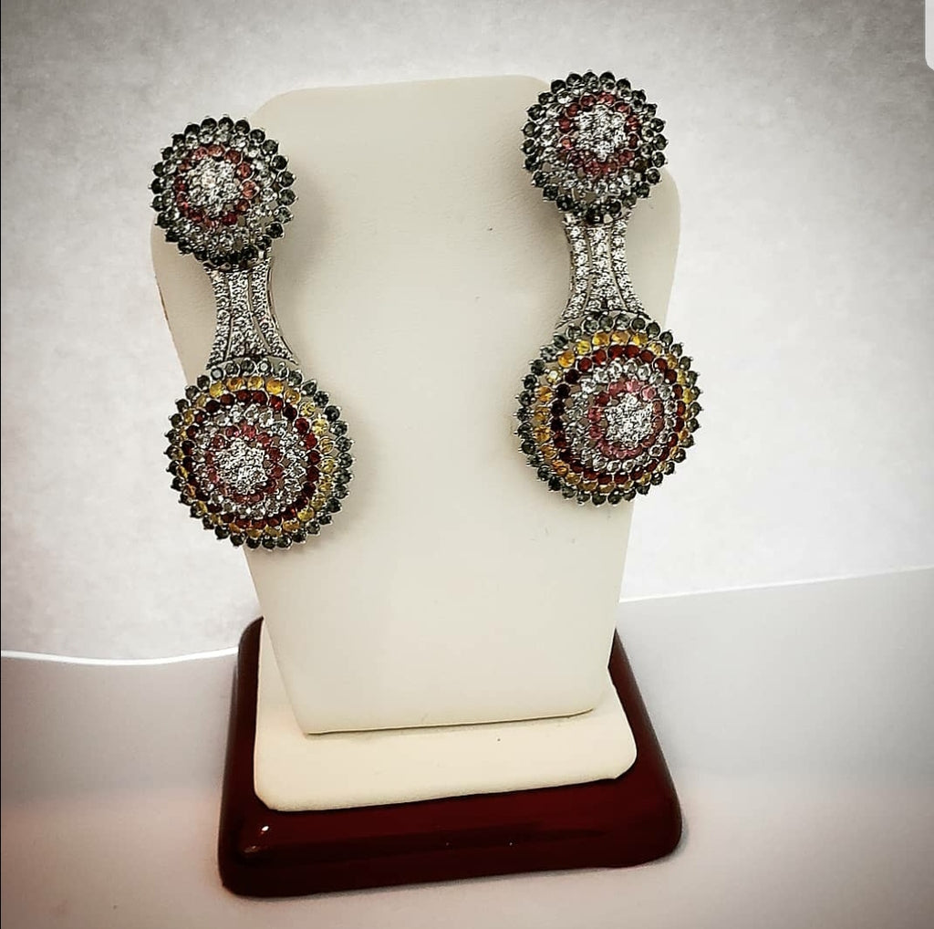 Multi colored zircon earrings by Amna's Inspiration.
