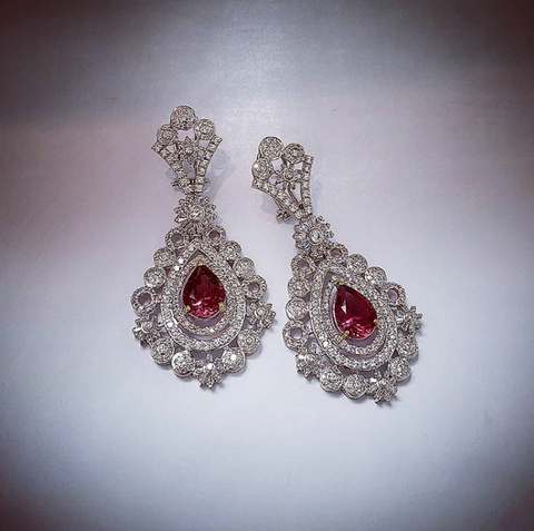 Sterling silver earrings by Amna's Inspiration with Cubic Zirconia and lab created pink tourmaline