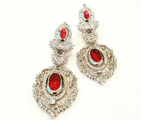 Sterling silver earrings by Amna's Inspiration with lab created rubies and cubic zirconia