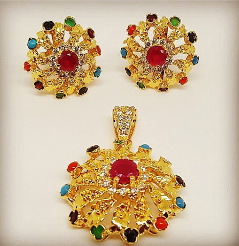 Gold plated silver pendant and earrings by Amna's Inspiration with assorted genuine gems.
