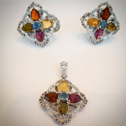 Sterling Silver Pendant and Earrings with Tourmaline, Citrine and Cubic Zirconia