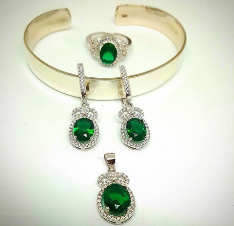 Green and White Zircon Pendant and Earrings