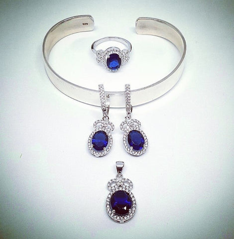Blue and White Zircon Pendant and Earrings