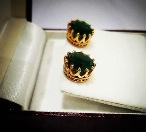 Crown Studs with Emerald Green Swarovski