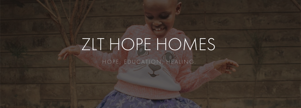 banner featuring a child from ZLT dancing in the background, with ZLT Hope Homes: Hope, Education, Healing overlaid in white font