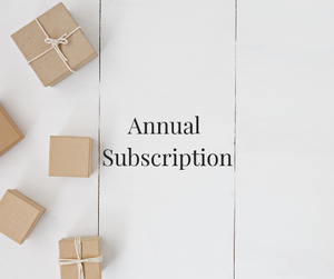 white background with Kraft brown boxes on left side and 'annual subscription' written in black text in centre