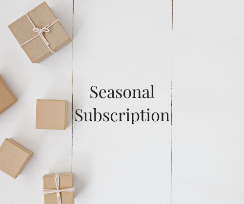 white background with Kraft brown boxes on left side and 'seasonal subscription' written in black text in centre
