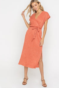 Ginger Spice Wrap Style Belted Midi Dress