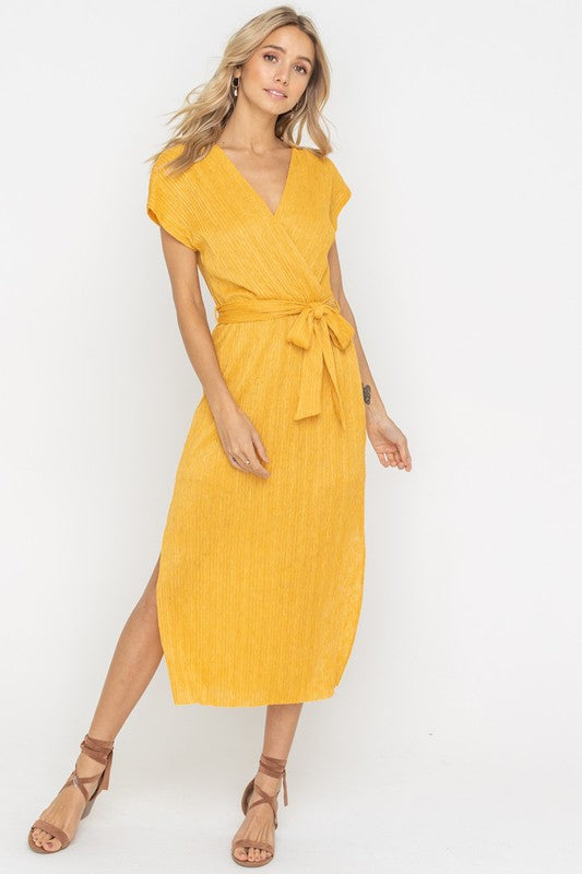 Golden Mustard Wrap Style Belted Midi Dress